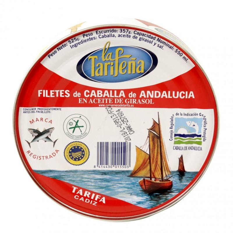 FILETES DE CABALLA DE ANDALUCIA ACEITE GIRASOL (LA TARIFEÑA) 525 GR.