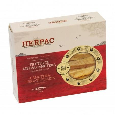 FILETES DE MELVA CANUTERA EN ACEITE DE OLIVA. HERPAC LATA  245 GRS.