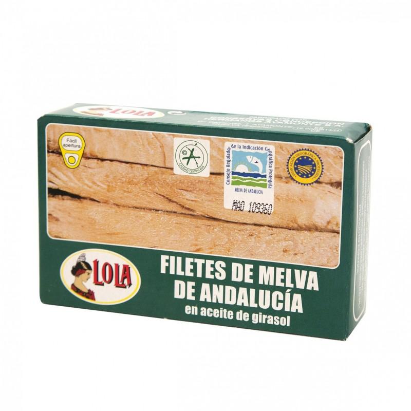 FILETES DE MELVA DE ANDALUCIA ACEITE GIRASOL(LOLA) 125 gr
